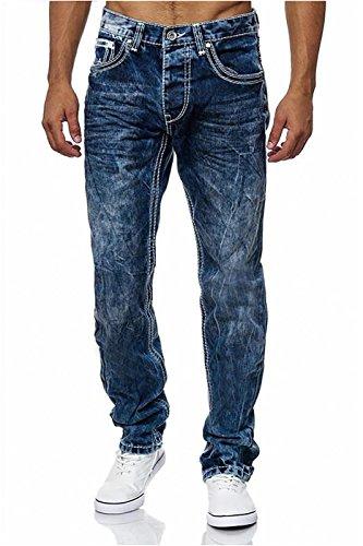 Herren Jeans Amica Big Seam Denim Trend Hose Dicke Naht, Farben:Weiß-Dunkelblau, Größen:W30