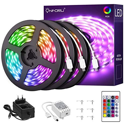 Onforu 15M RGB LED Strip, Farbwechsel Streifen 24V, 450er 5050 LED Band Selbstklebend, Farbig Lichtband mit Fernbedienung, Flexibel Lichterleiste Leuchtband mit Netzteil für Bett, Zimmer, Party Deko