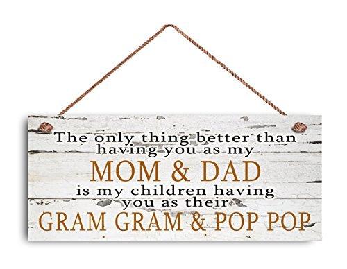 Panneau « Mom and Dad », « Gram Gram and Pop », « The Only Thing Better », cadeau pour les grands-parents, style vieilli, 15,2 x 35,6 cm, panneau en bois rustique.