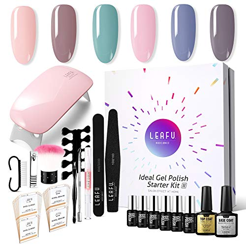 Modelones Gel Nail Polish Starter Kit, with 6W LED Lamp Base Top Coat, 6 Gels in Tiny Bottles, Portable Nail...