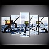 YFTNIPL Regalo Creativo Moderno En Lienzo 5 Piezas Cuadros Decoracion Salon Modernos Arte De La Pared Póster Caña De Pescar En El Mar
