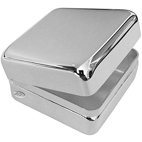 SILBERKANNE Silber 925 Dose 3x3x1,8 cm Quadrat mit Scharnierdeckel. Als Pillendose, Zahndose oder Haardose verwendbar