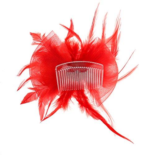 sharprepublic Couvre-chef Nuptiale Fascinateur Plume Fleur Headpiece Barrette Bleu - Bleu - Rouge