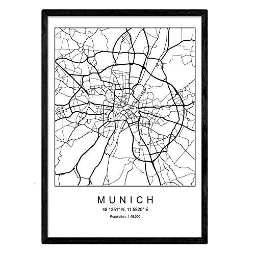 Nacnic Lámina Mapa de la Ciudad Munich Estilo nordico en Blanco y Negro. Poster tamaño A4 Sin Marco Impreso Papel 250 gr. Cuadros, láminas y Posters para Salon y Dormitorio