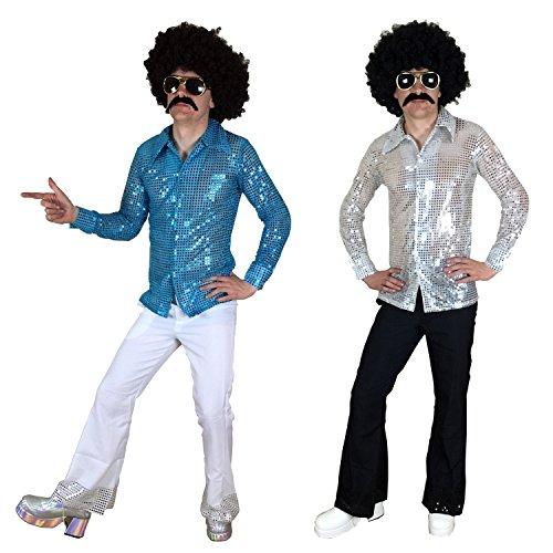 sowest 70er 80er Fancy Dress Herrenhemd & Fackeln Anzug-Outfit für Disco-Nächte (Herren: Mittel, Blaues Hemd und Weiße Fackeln)