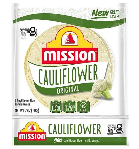 Mission Gluten Free Cauliflower Soft Taco Tortillas, High Fiber, 6 Count - 2 Packs