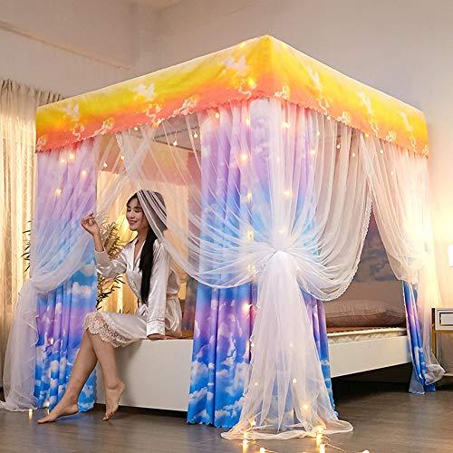 YXZN Bett Vorhang Moskito Schutznetz, Prinzessin DREI Seitenöffnungen Post Bett Vorhang Baldachin Netz Moskitonetz Bettwäsche