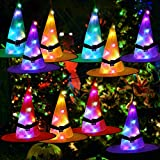 Halloween Decorations Outdoor Witch Hats 10Pcs Hanging Lighted Witch Hat Decorations RGB LED String Lights Battery Operated Waterproof