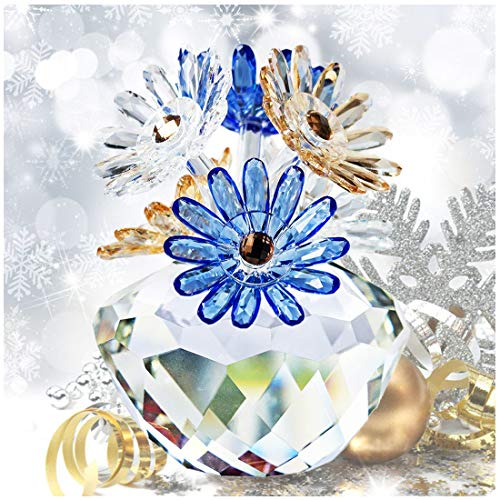 H&D HYALINE & DORA Crystal Daisy Flower Crystal Figurines Collectibles Ornament with Gift Box