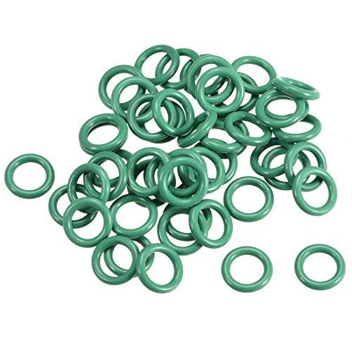 Juntas tóricas de goma fluorada, 8,5 mm OD 5,5 mm ID 1,5 mm de ancho, junta de sellado FKM para fontanería de máquinas, color verde, paquete de 50