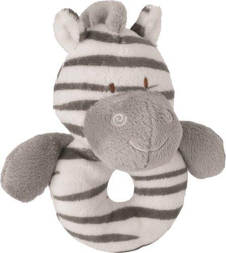 Suki Baby Zooma Ringrassel, weich, Plüsch, mit gestickten Akzenten (Zebra)