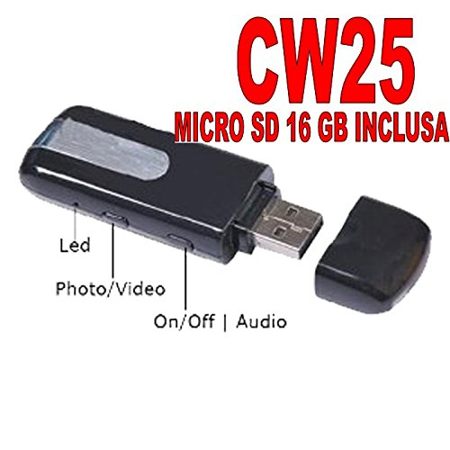 PENDRIVE SPIA U8 camera USB SPY MICROCAMERA FOTO + SD 16GB CW25