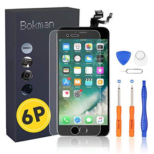 Bokman LCD Pantalla para iPhone 6 Plus Reemplazo de Pantalla LCD con Botón de Inicio, Cámara Frontal, Sensor Flex, Altavoz Auricular y Herramientas de Reparación(Negro)
