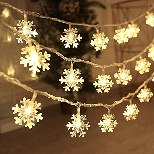YBAO Christmas Lights, Snowflake String Lights 16.4 ft 50 LED Fairy Lights Battery Operated Waterproof for Xmas Garden Patio Bedroom Party Decor Indoor Outdoor Celebration Lighting, Warm White