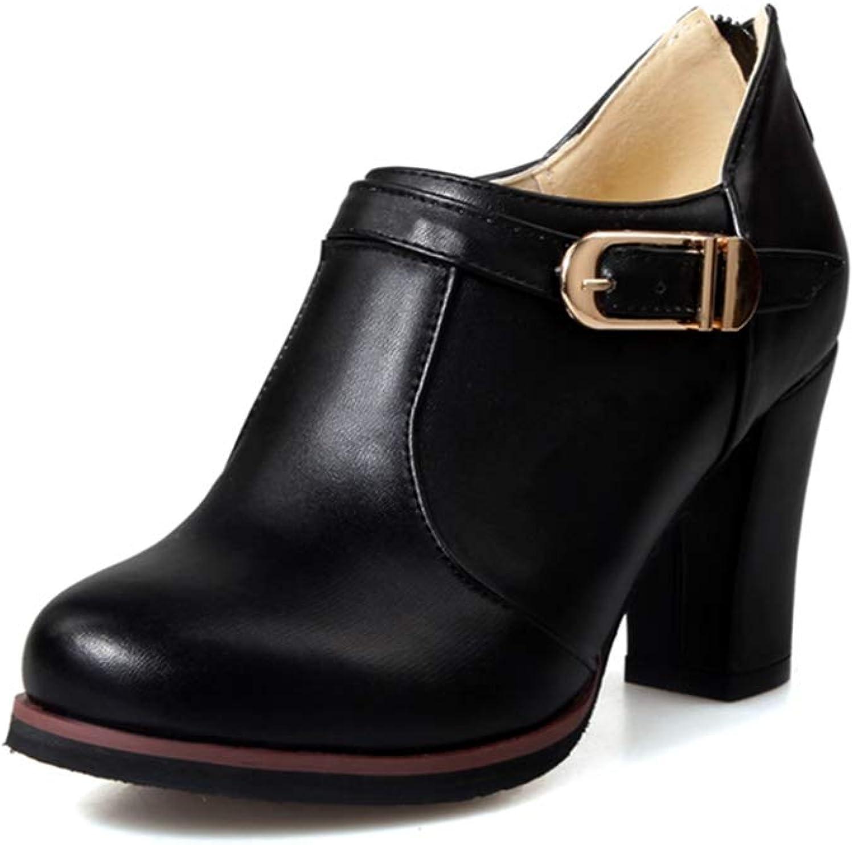 GIY Women's Chunky Platform Oxford Pump Buckle Round Toe Slip On High Heel Vintage Dress Oxfords shoes