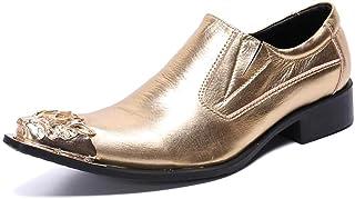 YOWAX Zapatos de los Hombres Zapatos de Cuero de la Cabeza de Metal para Formal, Informal, del Partido, Zapatos de Negocio...