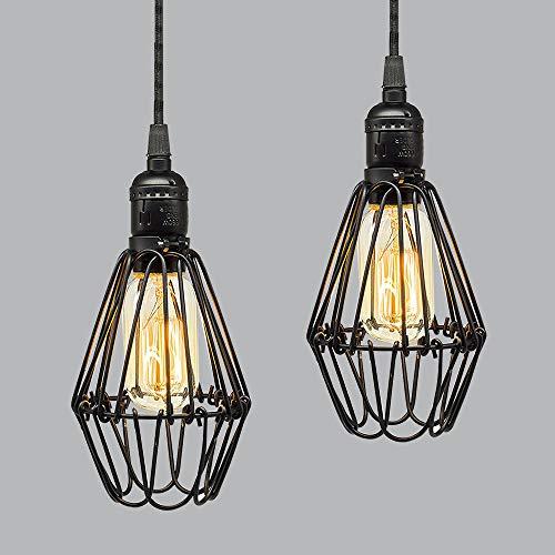 2 Stück Vintage Hängeleuchte Schwarz Metall Drahtgestell Käfig Pendelleuchte, E27 Fassung Lampenschirm, Modern Frame Design Deckenbeleuchtung, Zu öffnen Blüte