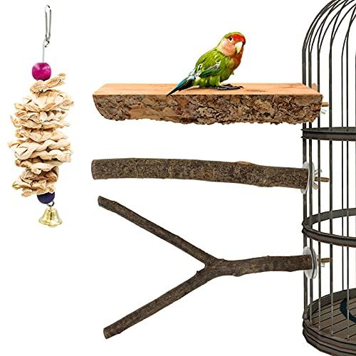 3 herrliche Vogelsitzbrett, Wellensittich Siztstange Vogel Spielplatz Sitzbrett Knabberspielzeug für Vögel wie Papageien Nymphensittich Kanarienvogel Agaporniden, Vogelkäfig Zubehör Vogelzubehör