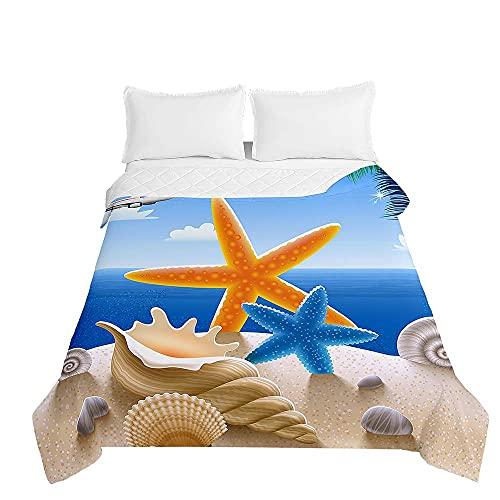 Surwin Colcha de Verano Bouti Colcha Estampado Estrella de Mar Playa 3D, Suave y Cómodo Manta Acolchada, Colcha de Microfibra para Cama Niño, Individuales y Matrimonio (Concha,130x150cm)