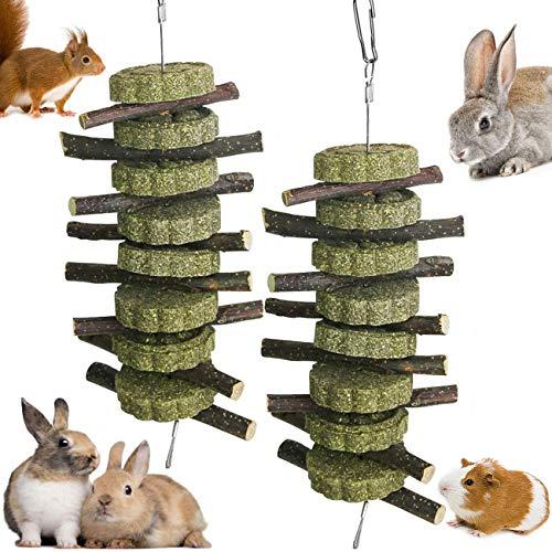 FANDE Kleintierspielzeug, 2PCS Hamster Kauenspielzeug Pet Snack Spielzeug mit Gras Kuchen Naturkrautkuchen und Apfelstäbchen für Meerschweinchen, Eichhörnchen, Kaninchen, Papageien, Hamster