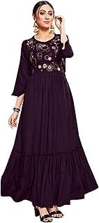 Purple Indian Women Fashion Rayon Maxi dress Long Kurti Girls Evening Party wear 8101