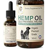 Petastical Hemp Oil for Dogs and Cats - Fast Acting Organic Calming Aid Supplement Drops for Anxiety, Hip Joint, Home Alone, Loud Noises - 50 ml