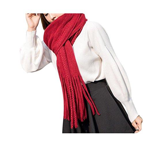 Koly_sciarpa miscela nappa cerchio calda lana Le donne della moda (Rosso)