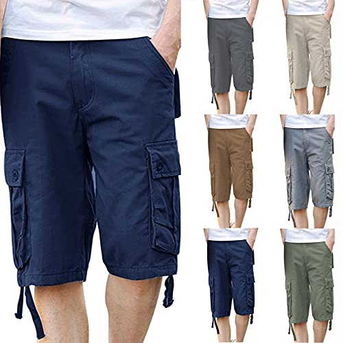 Men's Cargo Shorts Plus Size Casual Lightweight Multi Pocket Short Pants Classic Relaxed Fit Stretch Outdoors Shorts Coffee
