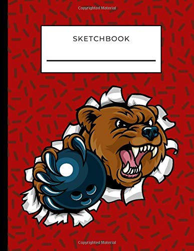 Sketchbook: Grizzly Bear with Bowling Ball on Red Cover / Unruled Unlined Paper / 8.5x11 Inches, Notebook Size / Design Book / Great Gift for Creatives, Artists and People Who Love To Draw