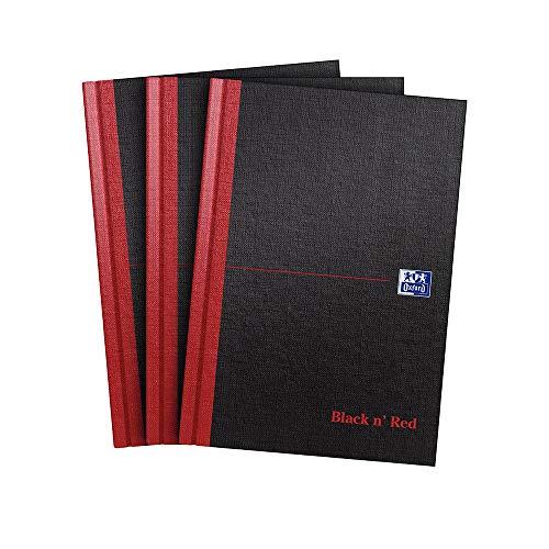 Oxford Black n' Red - Cuaderno, tamaño A4, tapa dura, color negro y rojo A5