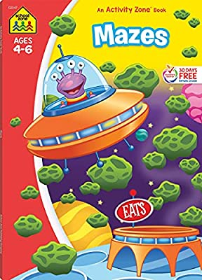 School Zone - Mazes Workbook - 64 Pages, Ages 4 to 6, Preschool, Kindergarten, Maze Puzzles, Wide Paths, Colorful Pictures, Problem-Solving, and More (School Zone Activity Zone? Workbook Series)