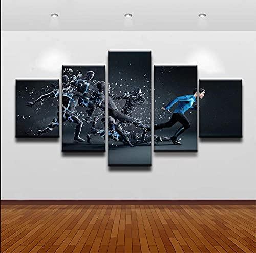 Cuadro En Lienzo Imagen Impresión Pintura Decoración Deportes de fútbol Abstractos Cuadro Moderno En Lienzo 5 Piezas XXL 150X80 Cm Enmarcado Murales Pared Hogar Decor