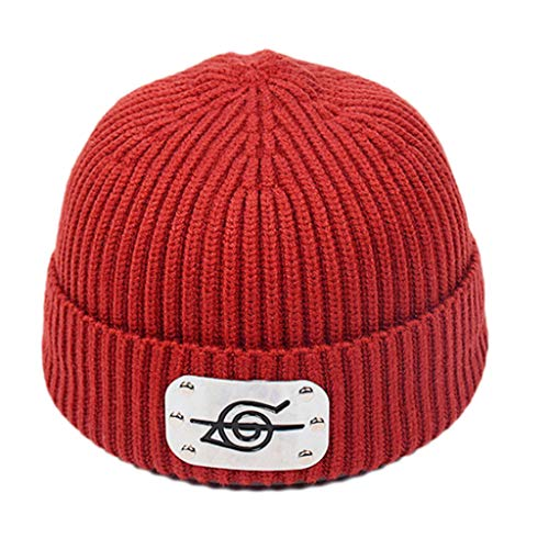 PHILSP Beanie Hat Unisex de Punto Acanalado cálido Beanie Hat Japanese Anime Metal Plate Cuffed Skull Cap Rojo Purpúreo