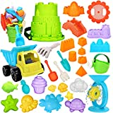 RichSmile 32Pcs Kids Beach Sand Toys Set with Mesh Bag Includes 10 Sand Castle Molds, Water Wheel, Bucket, Sand Shovel Tool Kits, Mycaron Sand Molds, Play Sand Toys for Toddlers Kids Outdoor Yellow