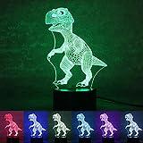 OULII Luz de la Noche 3D lámpara Efecto de luz Visual 7 Colores Cambios, (Dinosaurio)