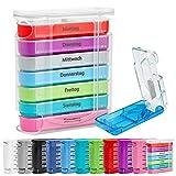 WELLGRO® Tablettenbox für 7 Tage mit Tablettenschneider - je 4 Fächer pro Tag mit Tageszeiteinteilung