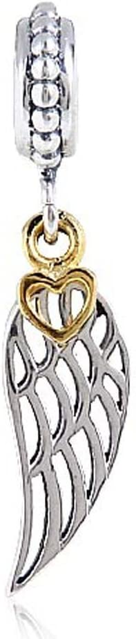 Angel Wing Charms with Gold Quality inspection Plated Sales for sale Silver Fea Sterling Heart 925