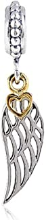 Angel Wing Charms with Gold Plated Heart 925 Sterling Silver Feather Pendant Dangel Christian Charm for DIY Charms Bracelet