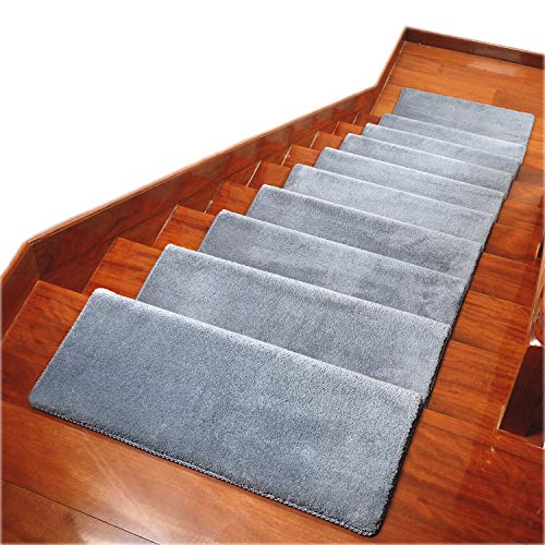 Carpet Stair Treads Anti Slip Stair Mats Made of Cotton and Fiber Self-Adhesive & Easy Installation Safety Slip Resistant for Kids, Elders, and Dogs(30'x 10x1.3') …(14pec, Grey)