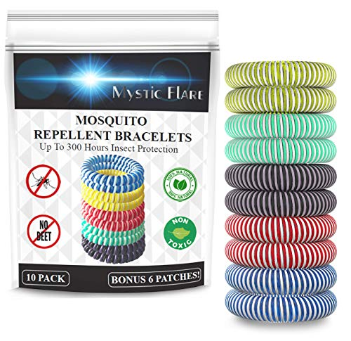 Mystic Flare Mosquito Repellent Bracelet 10 Pack – DEET Free Natural Citronella Oil 100% Safe Waterproof Insect Repellent Bands For Kids & Adults – Outdoor Mosquito Bands PLUS SIX FREE Patches