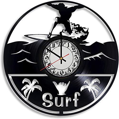NIGU, Accesorios para Dormitorio, Arte de Pared de Surf, Letrero de Surf, ilustración de Surf, Tabla de Surf, Reloj de Pared para decoración, Surfista de cumpleaños, decoración de guardería, calcoman