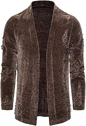 Men's Cardigan Open Front Knit Sweater Shawl Collar Solid Cotton Jacket