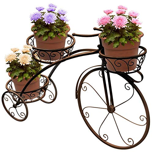 B-fengliu Tricycle Plant Stand - Flower Pot Cart Holder - Ideal For Home, Garden, Patio - Great Gift For Plant Lovers, Housewarming, Mother's Day - Parisian Style (Color : Bronze)