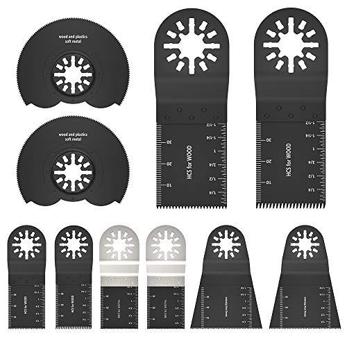 ATopoler Lame Utensile Multifunzione Oscillanti Set, Lame per Sega Oscillante Professionale, Lame Oscillanti con Attacco Rapido per Einhell, Bosch, Dewalt, Fein Multimaster, Dremel (10Pezzi)