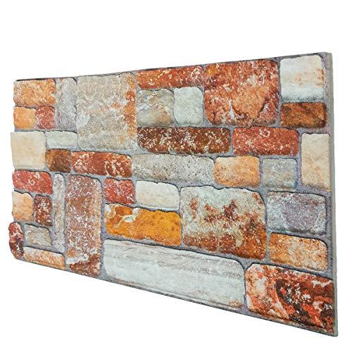 Panel de imitación de piedra reconstruido en poliestireno, medidas 100 cm x 50 cm, grosor 2 cm