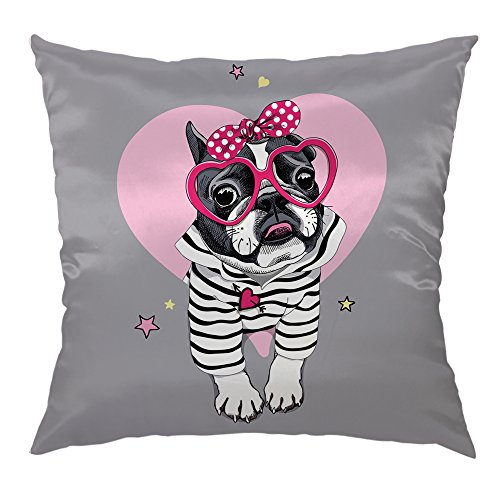 Moslion Cute Dog Pillow Case Dog Wear Pink Sunglasses Home Decorative Throw Pillow Cover Satin Square Cushion Cover Standard Pillow Cases for Women Girls Sofa Bedroom Livingroom 18