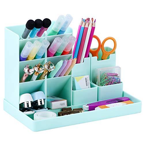 Cute Vertical Pen Organizer, Kawaii Desk Organizer Pen Holder Stationery, Marker Pencil Storage Caddy Tray for Office, School, Home & Art Supplies - Aqua