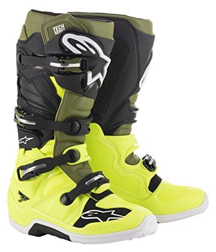 Alpinestars Men's Tech 7 Motocross Boot, Yellow/Green/Black, 13