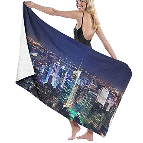 Toalla de Playa de Microfibra de Secado rápido, Scene New York City Midtown Sky Panorama City, Toalla Suave y Ligera para Acampar, Viajar, Nadar en la Playa, Yoga, Gimnasio, 52 'x 32'