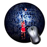 CASEOET Round Gaming Mouse Pad Custom Design, 8' Non-Slip Rubber Mousepad Mat for Desktops, Computer, PC and Laptops(Basketball a Shot of The Ages Jordan)